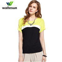 Women's Short Sleeve Tops Triple Color Block Stripe T-Shirt Casual Blouse Tunic Tops