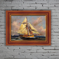 Yes frame sailing boat in the sea hand painted oil painting on canvas