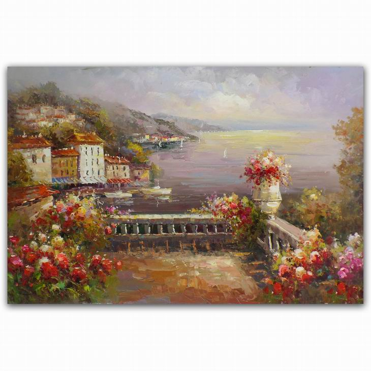 High quality Mayfair Gardens landscape famous oil paintings of flowers of life