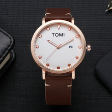 New Luxury Watch Men Rose Gold Business Clock Leather Quartz WristWatches Mens Sport 2017 Brand Watch