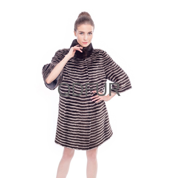QD80143 Lady Winter Genuine Natural Zebra-stripe Mink Fur Coat with Rex Rabbit Fur Clothes Half Sleeves