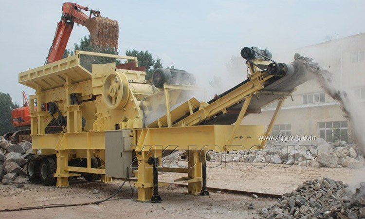 wheel Mobile impact stone crusher with vibrating screen