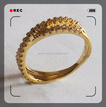 2015 fashion design zircon copper brass alloy plating gold yellow gold ring