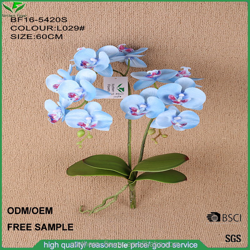60cm Hotsale blue orchid artificial flower, fake silk phalaenopsis orchid bouquet for wedding decoration