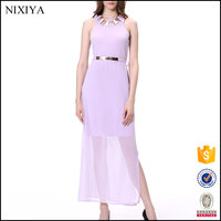 Women Casual Long Sleeveless Chiffon New Style Evening Dress