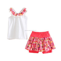 2016 new summer floral Sling lace collar top + floral skirt suit for girls