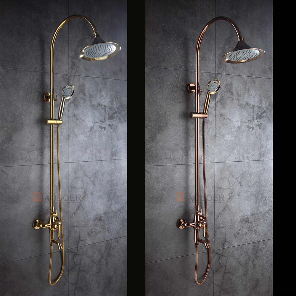 European brass titanium gold exposed wall mounted shower faucet