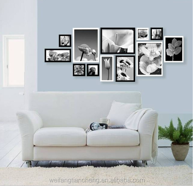 Black wooden mounted picture frames / Black wall frame wholesale 11 x 14 with mat
