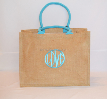 Personalised embroidered organic hemp or jute shopping bag tote bag
