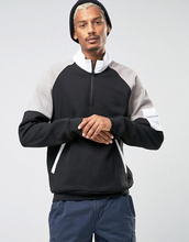 Custom Long Sleeve Funnel Zip Collar Without Hood Black Men's 80% Cotton 20% Polyester Casual Warm Pullover Sweatshirt