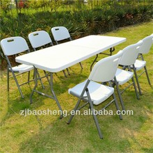 72inch/180cm plastic top blow molded camping picnic plastic folding tables