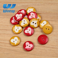 heart pattern two hole resin fashion korean style laser engraving button for sewing decoration