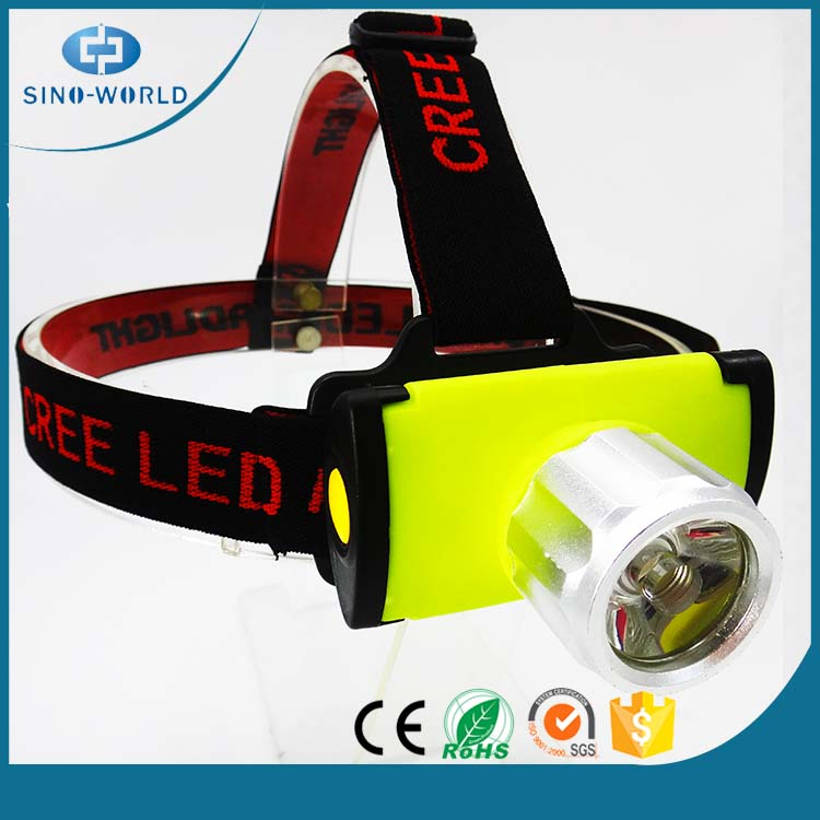Plastic battery operated high power LED headlamp flashlight and led head lamps