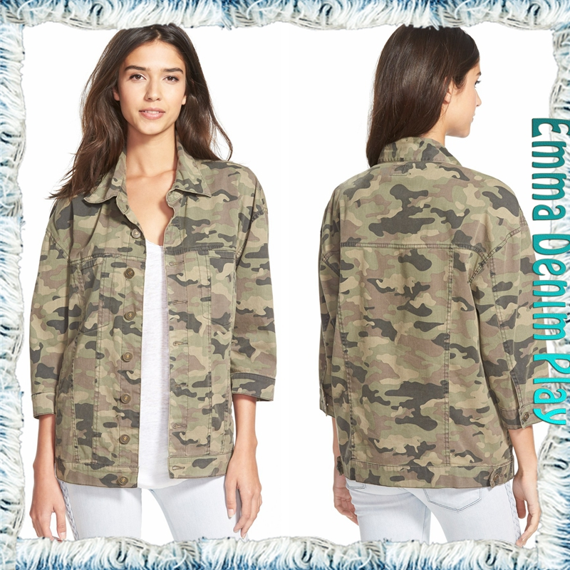 Fashion Design Camo Theory Denim Long Sleeves Jacket for Women