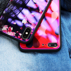 for IPhone 8 Case Back Cover Tempered Glass Case Full Coverage Protective Phone Case for iphone8
