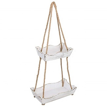 Vintage Style Rope Hanging Wooden Shelves With Weathered Whitewash Finish
