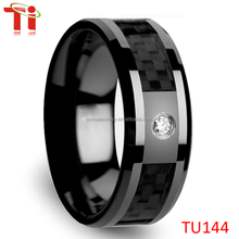 8mm Tungsten Men's 0.10 Ct CZ Black Carbon Fiber Wedding Band Ring Size 6-12