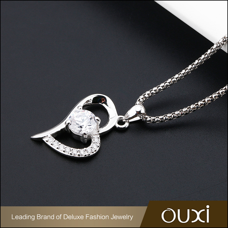 Made in China Love heart silver pendant necklace