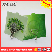 Decorative reusable self adhesive sucker wall plastic hook