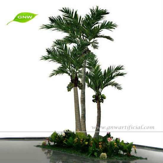 GNW APM028 Low Price Artificial Plastic Coconut Palm Tree with Green Leaf for outdoor decor