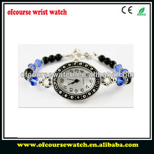 Fashion luxury silver case with multicolor beads wristband femal gift watch jewelry watch.