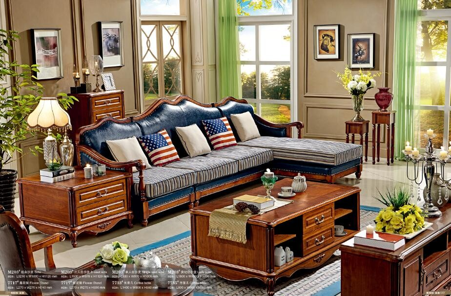 American style antique living room sofa furniture for New model living room furniture
