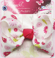 Sweet Flowers pattern bow hair clips(approved by BV)