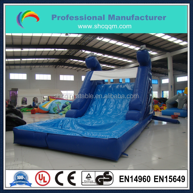 commercial mini inflatable dolphin water slide with pool for backyard