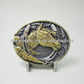 Belt Buckle For Men Two-Tone Antique Silver Gold Plated Western Horse Belt Buckle BUCKLE-WT058ASG Brand New In Stock