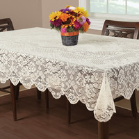 100% Polyester Floral Lace White Table Cloth ,Daily Table Decoration Fabirc