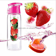 2017 hot high quality plastic fruit infuser water bottle portable fruit infuser water bottle with private label