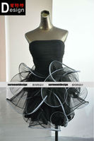 Real Sample Pictures Sexy Pleated Bodice Ball Gown Black Tulle 2014 Cocktail Dress
