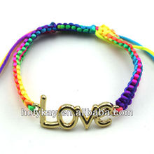 Monogram connecting bracelet,Colorful Rainbow braid weavon bracelet,Love jewelry for lover