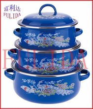 601ED 12/14/16cm 6pcs Enamel Casserole Used in Kitchenware Mini Pot Child With Glass Lid and beautiful Decor