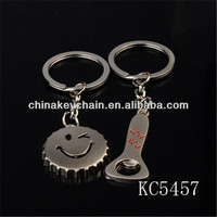 Lovely bottle cap and bottle openers shaped lovers keychain