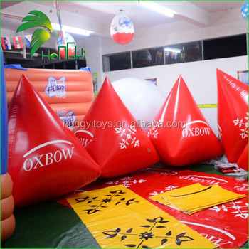 Triangle Shaped Swim Buoy Inflatable , Custom Red Large Inflatable Buoy For Water Park
