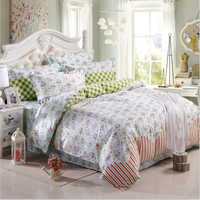 polyester twill print peach skin bed sheet set and mattress fabric