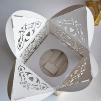 laser cut paper box for cake wedding cupcake packaging box with insert