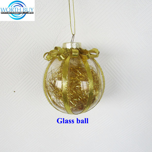 Gold ribbon decorated clear handmade christmas bauble