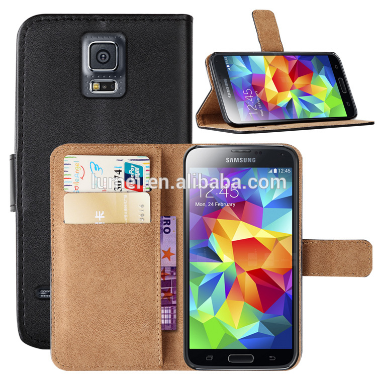 For samsung galaxy s5 Flip leather case, Stand leather wallet case for samsung S5 mobile phone