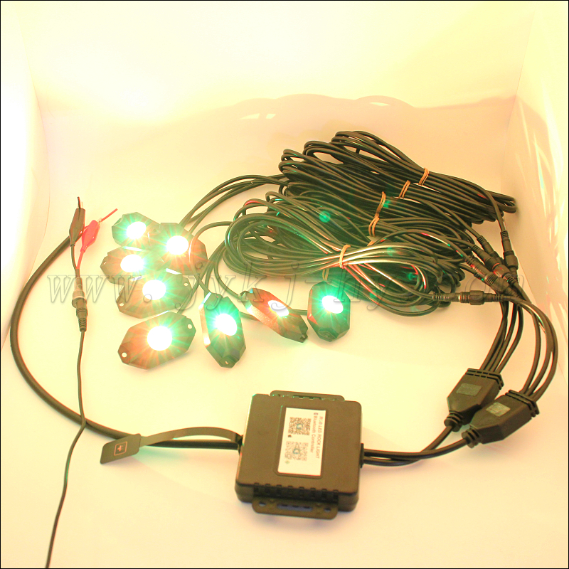 Remote Control Bluetooth RGB Led Rock Light Under Car For Car,Truck,Jeep,Offroad rock light