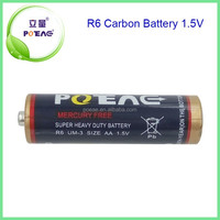 Environmental protection POEAE 1.5v battery-r6 um-3 aa zinc carbon battery