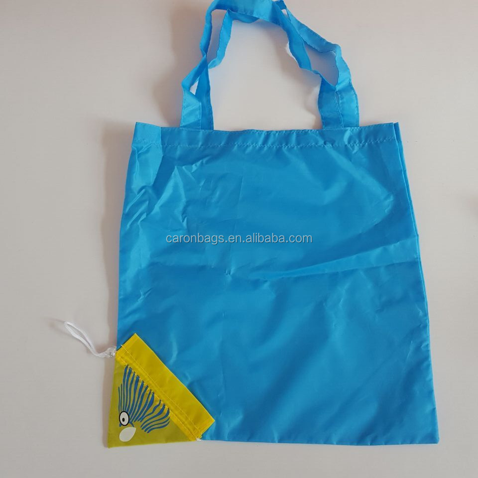 reusable fish 190t polyester supermarket shopping tote bag for promotion