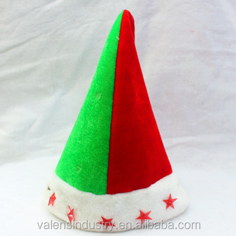 YIwu China Novelty Funny Crazy Decorated LED Flashing Light Up Velvet Santa Claus Christmas Elf Hat with Jingle Bells Decoration