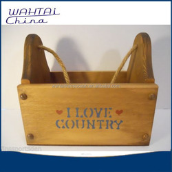 COUNTRY Wood Box Tote - Home Decor - Milk Bottle Holder Carrier Storage