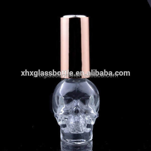 The Unique Design Cool Skull Shape Nail Polish Bottle With Different Cap