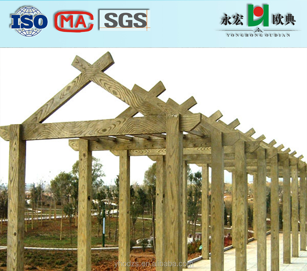 YongHong Brand GRC/GFRC faux wood decorative pergola