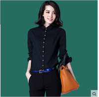 New Design 100% Cotton Plain Dyed Blouse / Formal Shirt For Women