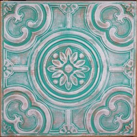 PL50 Faux tin paint 3D green white color ceiling tiles