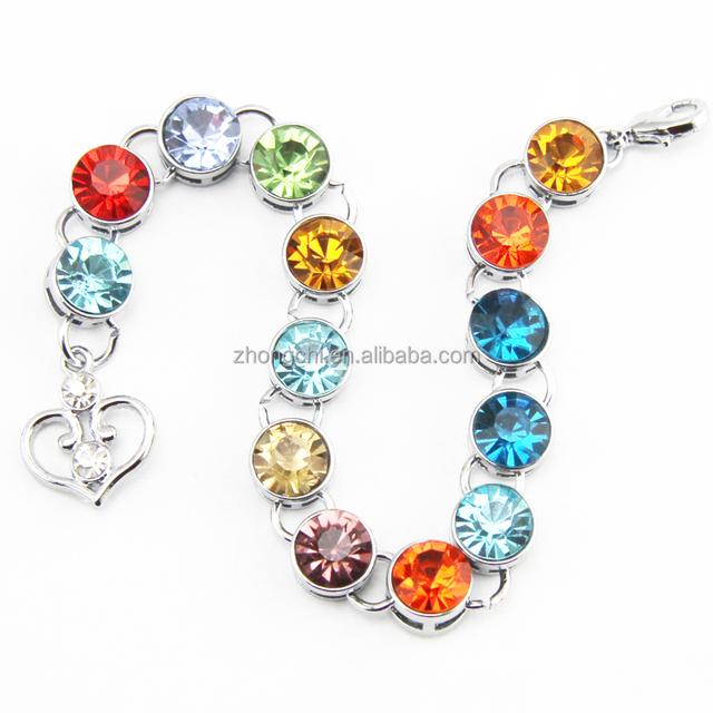 Fashion handmade birthstone crystals bracelet link bracelet jewelry